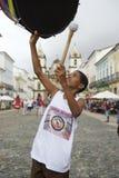 Young Brazilian Shows off with Drum Pelourinho Salvador Royalty Free Stock Photo
