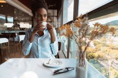 Young Brazilian woman in cafe near the window stock images
