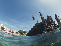 Young Brazilians Diving Salvador Brazil stock photography