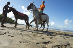 Young Brazilians Riding Horses Bahia Beach Brazil Stock Images