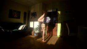 Young break dancer in the room, 4K stock footage