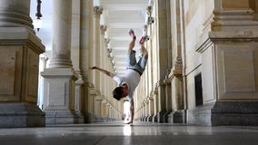 Young breakdancer dancing on the street in Karlovy vary. stock video footage