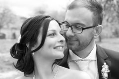 Young bridal couple  in black and white Stock Photo