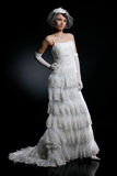 Young Bride. Young woman in a wedding dress royalty free stock photo