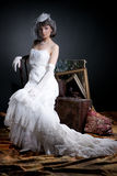 Young Bride. Young woman in a wedding dress royalty free stock photos