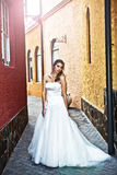 Young Bride in an Alleyway Stock Photos