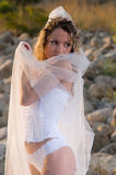 Young bride on the beach Stock Photography