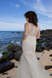 Young Bride on Beach. Royalty Free Stock Photos