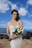 Young Bride on Beach. Stock Photo