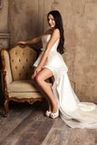 Young bride in a beautiful white dress Royalty Free Stock Photography