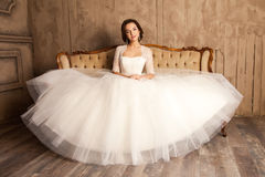 Young bride in a beautiful white dress Stock Photography