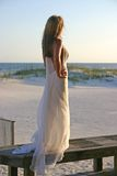 Young Bride on Boardwalk Royalty Free Stock Images