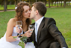Young bride with bridegroom. Young bride and the bridegroom in the park royalty free stock image