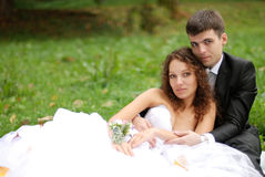Young bride with bridegroom Royalty Free Stock Photo