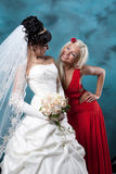 Young Bride and Bridesmaid Stock Photography