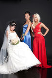 Young Bride and Bridesmaids Royalty Free Stock Photo