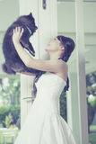 Young bride and Dog Royalty Free Stock Images