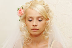 Young bride doing make-up Royalty Free Stock Photos