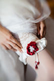 Young bride dressing up for wedding ceremony Royalty Free Stock Photography