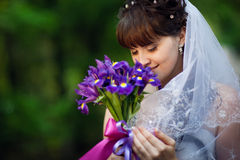 Young bride with flowers Royalty Free Stock Photos