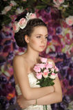 Young bride with flowers in her hair Royalty Free Stock Photos