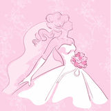 Young bride. With flowers on the pink background Stock Illustration