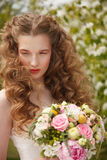 Young bride with flowers Royalty Free Stock Photo
