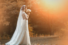 Young bride in forest Royalty Free Stock Photography