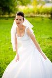 Young bride in garden Royalty Free Stock Photos