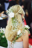 Young bride getting her hair done before wedding Royalty Free Stock Photos