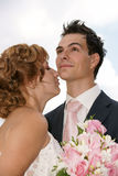 Young  Bride And Groom. Posing together Royalty Free Stock Photo