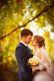 Young bride and groom on the bluer background stock photo