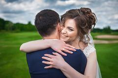 Young bride and groom celebrating wedding Stock Photography