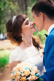 Young bride and groom kissing on the background of the forest  the road Stock Image