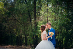 Young bride and groom kissing on the background of the forest the road Royalty Free Stock Photos