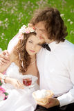 Young  bride and groom in love Stock Photo