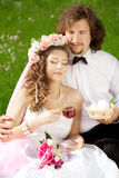 Young  bride and groom in love Stock Images