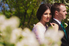 Young bride and groom in a lush garden in the spring Royalty Free Stock Images