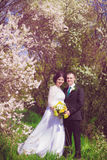 Young bride and groom in a lush garden in the spring Stock Photography