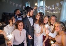 A young bride, groom and guests posing for a photograph on a wedding reception. A young bride, groom and other guests posing for a photograph on a wedding stock photography