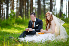 Young bride and groom sitting on a grass Royalty Free Stock Photo