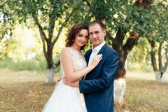 Young bride and groom walking in a summer Park with green trees. 1 stock images