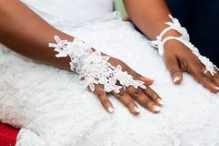 Young bride with hand-decorated accessories royalty free stock image