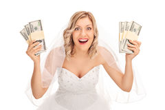 Young Bride Holding Few Stacks Of Money Royalty Free Stock Photos