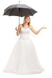 Young bride holding an umbrella Stock Image