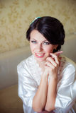 Young bride home in morning Stock Photography