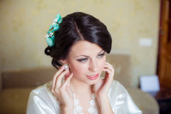 Young bride home in morning Stock Image
