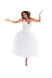 Young bride jumping Stock Photography