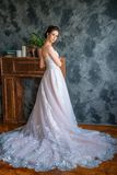 Young bride in long dress posing for the camera stock image