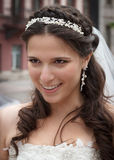 Young bride with long hair. Royalty Free Stock Image